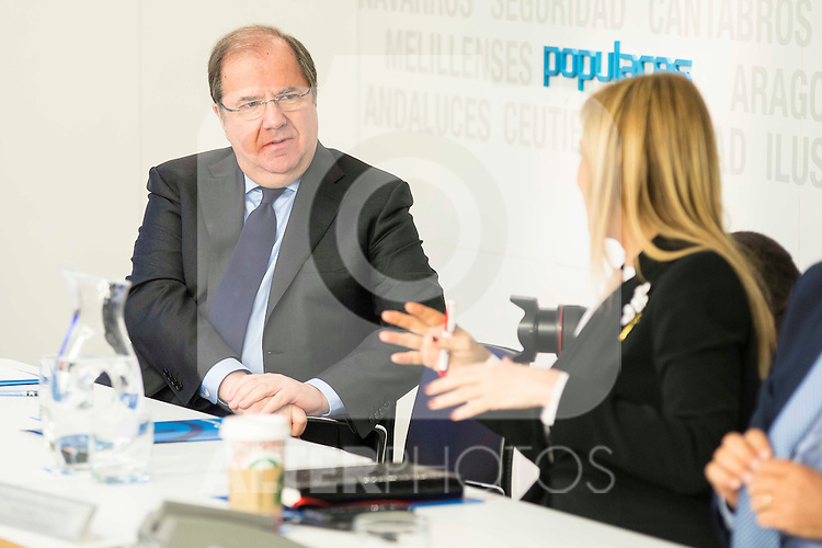 Juan Vicente Herrera and Cristina Cifuentes during the meeting with the national executive committee of Partido Popular at Genova in Madrid. May 03, 2016. (ALTERPHOTOS/Borja B.Hojas)