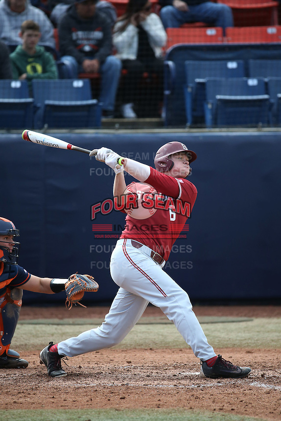 Kyle Stowers #6 of the Stanford Cardinal bats against the Cal State Fullerton Titans at Goodwin Field on February 19, 2017 in Fullerton, California. Stanford defeated Cal State Fullerton, 8-7. (Larry Goren/Four Seam Images)