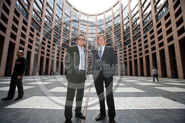 STRASBOURG - FRANCE - 06 MAY 2009 -- MEP Poul Nyrup RASMUSSEN at his last Parliamentarian session before he retires as MEP. Here together with MEP Dan JØRGENSEN outside the parliament building in Strasbourg.  Photo: Erik Luntang/EUP-IMAGES