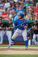 South Bend Cubs designated hitter Michael Cruz (8) squares around to bunt during a game against the Kane County Cougars on July 21, 2018 at Northwestern Medicine Field in Geneva, Illinois.  South Bend defeated Kane County 4-2.  (Mike Janes/Four Seam Images)