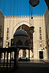 Cairo, Egypt -- Interior courtyard and fountain (sahn) and iwans of the Sultan Hassan Mosque. © Rick Collier / RickCollier.com.