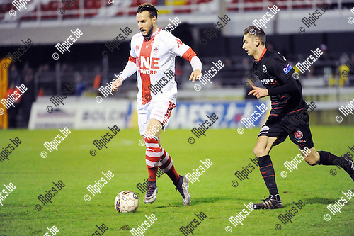 2016-01-30 / Voetbal / Seizoen 2015-2016 / R. Antwerp FC - KSK Heist / Mathieu Cornet (l. Antwerp) met Jan Van den Bergh<br /> <br /> Foto: Mpics.be