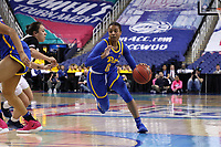 GREENSBORO, NC - MARCH 04: Jahsyni Knight #0 of the University of Pittsburgh drives the lane during a game between Pitt and Notre Dame at Greensboro Coliseum on March 04, 2020 in Greensboro, North Carolina.