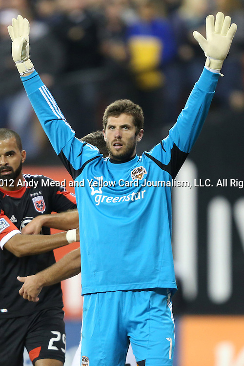18 November 2012: Houston's Tally Hall. DC United played the Houston Dynamo at RFK Stadium in Washington, DC in the second leg of their 2012 MLS Cup Playoffs Eastern Conference Final series. The game ended in a 1-1 tie, Houston won the series 4-2 on aggregate goals.