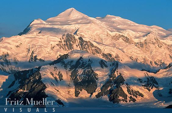 View of Mount Logan in the St. Elias Icefields, Kluane National Park, Yukon