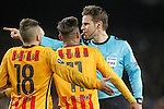 German referee Felix Brych have words with FC Barcelona's Jordi Alba (l) and Neymar Santos Jr (c) during Champions League 2015/2016 match. April 5,2016. (ALTERPHOTOS/Acero)