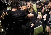 NWA Democrat-Gazette/CHARLIE KAIJO Bentonville High School cheerleaders react after a 31-7 victory during a football game, Friday, November 2, 2018 at Bentonville High School in Bentonville.