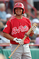 Reading Phillies shortstop Freddy Galvis (4) during a game vs. the Erie Seawolves at Jerry Uht Park in Erie, Pennsylvania;  July 19, 2010.   Reading defeated Erie 6-1.  Photo By Mike Janes/Four Seam Images