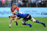Jason Woodward of Gloucester Rugby is tackled by Dave Attwood of Bath Rugby during the Gallagher Premiership Rugby match between Bath Rugby and Gloucester Rugby at The Recreation Ground on Saturday 8th September 2018 (Photo by Rob Munro/Stewart Communications)