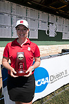 HOUSTON, TX - MAY 12: Christina Herbert of Bridgewater College holds her first place trophy for individual scores during the Division III Women's Golf Championship held at Bay Oaks Country Club on May 12, 2017 in Houston, Texas. (Photo by Rudy Gonzalez/NCAA Photos/NCAA Photos via Getty Images)