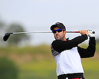 Manuel Trappel (AUT) on the 1st tee during Round 1 of the Challenge de Madrid, a Challenge  Tour event in El Encin Golf Club, Madrid on Wednesday 22nd April 2015.<br /> Picture:  Thos Caffrey / www.golffile.ie