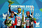 Michail Semenov, Milanko Petrovic, Raul Shakirzianov at the podium of the cross country 10 km free style men as part of the Winter Universiade Trentino 2013 on 17/12/2013 in Lago Di Tesero, Italy.<br /> <br /> &copy; Pierre Teyssot - www.pierreteyssot.com