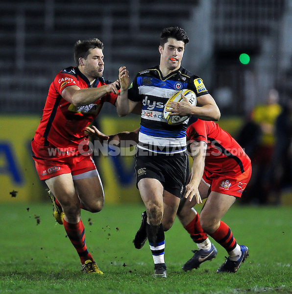 Adam Hastings of Bath United takes on the Bristol United defence. Aviva A-League match, between Bath United and Bristol United on December 28, 2015 at the Recreation Ground in Bath, England. Photo by: Patrick Khachfe / Onside Images