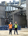 Pictured:  Labour leader Jeremy Corbyn speaking to Julian Brown, UK Country Manager for MHI Vestas during his visit to the Fawley Power Station.<br /> <br /> Labour Leader Jeremy Corbyn to visits a wind turbine facility in Southampton today, Wednesday.  <br />  <br /> On a visit to a wind turbine logistics facility in Southampton, Leader of the Labour Party Jeremy Corbyn MP will set out how Labour's policy to invest in green energy will create jobs and benefit coastal communities across the UK. <br /> <br /> © Roger Arbon/Solent News & Photo Agency<br /> UK +44 (0) 2380 458800