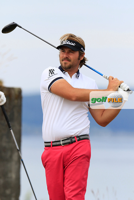 Victor DUBUISSON (FRA) tees off the 18th tee during Thursday's Round 1 of the 2015 U.S. Open 115th National Championship held at Chambers Bay, Seattle, Washington, USA. 6/18/2015.<br /> Picture: Golffile | Eoin Clarke<br /> <br /> <br /> <br /> <br /> All photo usage must carry mandatory copyright credit (&copy; Golffile | Eoin Clarke)