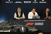 31st October 2019; Circuit of the Americas, Austin, Texas, United States of America; F1 United States Grand Prix, team arrival day; 2021 Regulation Press Conference with Ross Brawn, Managing Director of Formula 1 for Liberty Media, Nikolas Tombazis, FIA Head of Single Seater Technical Matters and Chase Carey, Chief Executive Officer of the Formula One Group - Editorial Use