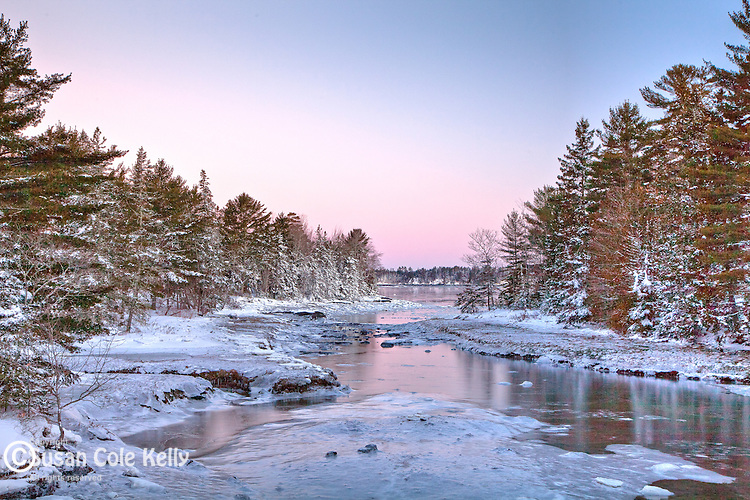 A winter sunrise at Carrying Place inlet in Hancock, Downeast, ME, USA