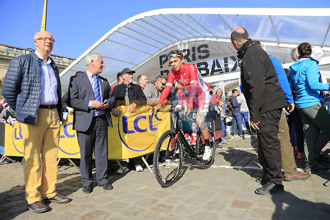 Christophe Laporte (FRA) Cofidis at sign on for the 115th edition of the Paris-Roubaix 2017 race running 257km Compiegne to Roubaix, France. 9th April 2017.<br /> Picture: Eoin Clarke | Cyclefile<br /> <br /> <br /> All photos usage must carry mandatory copyright credit (&copy; Cyclefile | Eoin Clarke)