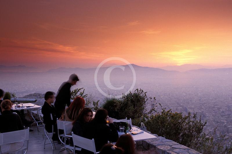 Greece, Athens, Restaurant atop Mount Likavitos