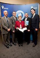 "**** NO FEE PIC***.12/04/2012 .(L to r) Ray McAndrew,Chair of the Commission for the Support of Victims of Crime.Dr. Shane Kilcommins UCC,.Gillian Hussey Chair of Crime Victims Helpline,.David McKenna President of Victim Support Europe,.Prof Anthony Pemberton International Victimology Institute Tilburg.during a conference on the ""The EU Directive on Victims Rights: Opportunities and Challenges for Ireland"" hosted by the the Irish Council for Civil Liberties (ICCL) in Dublin Castle..Photo: Gareth Chaney Collins"