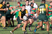 Josh Baverstock gets the pass away as Pukekohe attack late in the game. Counties Manukau Premier Club rugby game between Pukekohe and Waiuku, played at Colin Lawrie Fields, Pukekohe on Saturday April 14th, 2018. Pukekohe won the game 35 - 19 after leading 9 - 7 at halftime.<br /> Pukekohe Mitre 10 Mega -Joshua Baverstock, Sione Fifita 3 tries, Cody White 3 conversions, Cody White 3 penalties.<br /> Waiuku Brian James Contracting - Lemeki Tulele, Nathan Millar, Tevta Halafihi tries,  Christian Walker 2 conversions.<br /> Photo by Richard Spranger