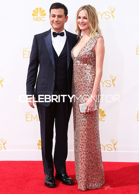 LOS ANGELES, CA, USA - AUGUST 25: Jimmy Kimmel and Molly McNearney arrive at the 66th Annual Primetime Emmy Awards held at Nokia Theatre L.A. Live on August 25, 2014 in Los Angeles, California, United States. (Photo by Celebrity Monitor)