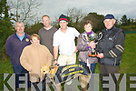 CHAMPION: Champion dog Tragumma Shane with his owner Shane Hourihane winners of the Horgan Memorial Cup which was presented Anthony O'Connor by sponsor Sheila Horgan. l-r: Delia Conway, Ger McCarthy (treasurer Abbeydorney Coursing), Denis O'Driscoll and Shane Hourihane (joint owners), Sheila Horgan and Anthony O'Connor...