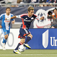 New England Revolution forward Diego Fagundez (14) controls the ball. In a Major League Soccer (MLS) match, the New England Revolution tied Philadelphia Union, 0-0, at Gillette Stadium on September 1, 2012.