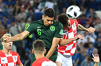 (180616) -- KALININGRAD, June 16, 2018 -- Leon Balogun (L top) of Nigeria and Mario Mandzukic (R top) of Croatia compete for a head ball during a group D match between Croatia and Nigeria at the 2018 FIFA World Cup WM Weltmeisterschaft Fussball in Kaliningrad, Russia, June 16, 2018. ) (SP)RUSSIA-KALININGRAD-2018 WORLD CUP-GROUP D-CROATIA VS NIGERIA LiuxDawei <br /> Kalininrad 16-06-2018 Football FIFA World Cup Russia  2018 <br /> Croatia - Nigeria / Croazia - Nigeria<br /> Foto Xinhua/Imago/Insidefoto