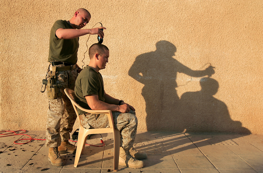 Possibly the most perfect Marine haircut picture ever taken in Iraq on Thurs. Nov. 16, 2005 at Forward Operating Base Al Qa'im in Iraq.