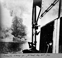 BNPS.co.uk (01202 558833)<br /> Pic Lawrences/BNPS<br /> <br /> The end of HMS Invicible - blowing up at the Battle of Jutland in 1916<br /> <br /> Fascinating early photos of submarine warfare featuring close quarters views of German battleships have come to light 100 years later.<br /> <br /> The photo albums were collated by British Commander Maurice Bailward who documented every stage of his naval career.<br /> <br /> Cmdr Bailward attended Royal Naval College in Osborne, Isle of Wight, from 1906 and 1908, the same time as Edward, the Prince of Wales.<br /> <br /> He was involved in many of the major sea battles of World War Two as well as the British effort to help the Whites during the Russian Civil War of 1919.<br /> <br /> The albums have emerged for sale at auction from a family descendant with Lawrences Auctioneers, of Crewkerne, Somerset.