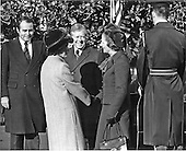 """Prime Minister Margaret Thatcher of the United Kingdom, right, is welcomed to the White House in Washington, D.C. by first lady Roslyn Carter, center left, and United States President Jimmy Carter, center, on Monday,December 17, 1979. It was Mrs. Thatcher's first trip to the United States as Prime Minister.  Thatcher died from a stroke at 87 on Monday, April 8, 2013..Credit: Benjamin E. """"Gene"""" Forte - CNP"""