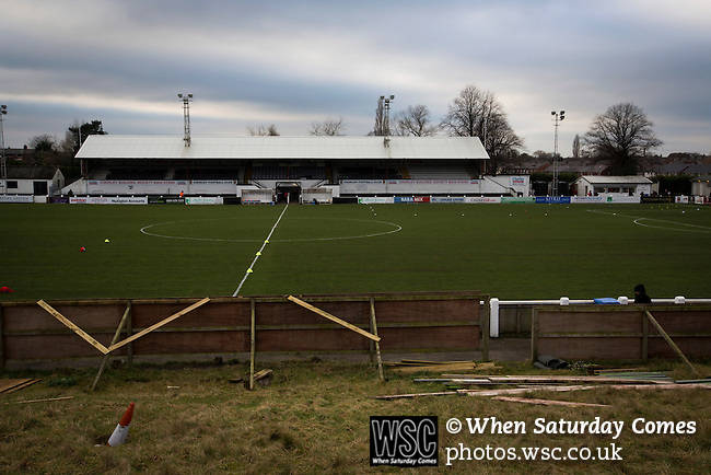 Chorley 2 Altrincham 0, 21/01/2017. Victory Park, National League North. A view across the disused bank of terracing to the main stand at Victory Park, before Chorley played Altrincham in a Vanarama National League North fixture. Chorley were founded in 1883 and moved into their present ground in 1920. The match was won by the home team by 2-0, watched by an above-average attendance of 1127. Photo by Colin McPherson.