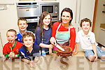 Tracy Coyne the winner of the Great Irish Bake Off tv programme busy making a cake for her children Max, Lucy and Rory and their friends after they returned from holiday on Monday l-r: Donal and Sean Hickey, Max, Lucy Jane and Rory O'Gara