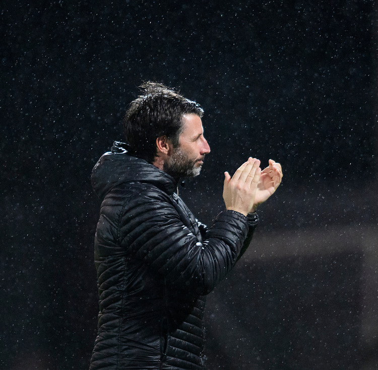 Lincoln City manager Danny Cowley applauds the fans during the pre-match warm-up<br /> <br /> Photographer Chris Vaughan/CameraSport<br /> <br /> The EFL Sky Bet League Two - Mansfield Town v Lincoln City - Monday 18th March 2019 - Field Mill - Mansfield<br /> <br /> World Copyright © 2019 CameraSport. All rights reserved. 43 Linden Ave. Countesthorpe. Leicester. England. LE8 5PG - Tel: +44 (0) 116 277 4147 - admin@camerasport.com - www.camerasport.com