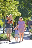 Family, main street, Moorestown, New Jersey