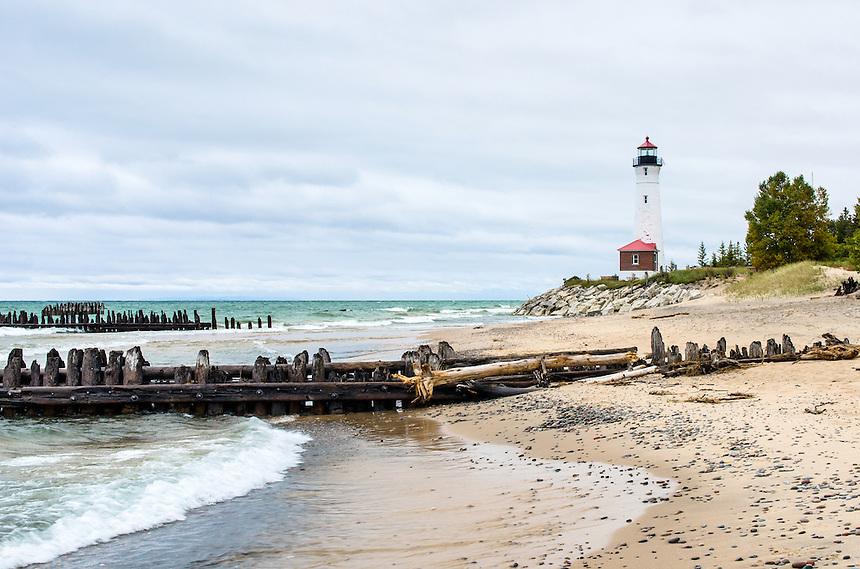 Crisp Point Lighthouse along the Lake Superior shoreline. Newberry, MI