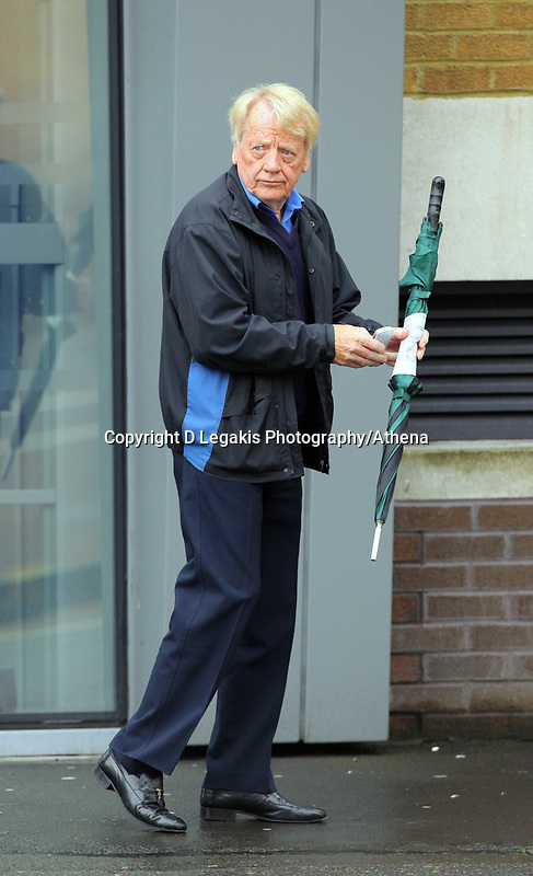 Pictured: George Deakin outside Swansea Magistrates Court.<br /> Re: One of the former associates of Liberal leader Jeremy Thorpe has appeared before Magistrates accused of assault.<br /> George Deakin was one of four people accused of conspiring to murder Norman Scott in the late 1970s, a former male model who claimed to have once been the boyfriend of Thorpe.<br /> The other co-accused were David Holmes and John Le Mesurier.