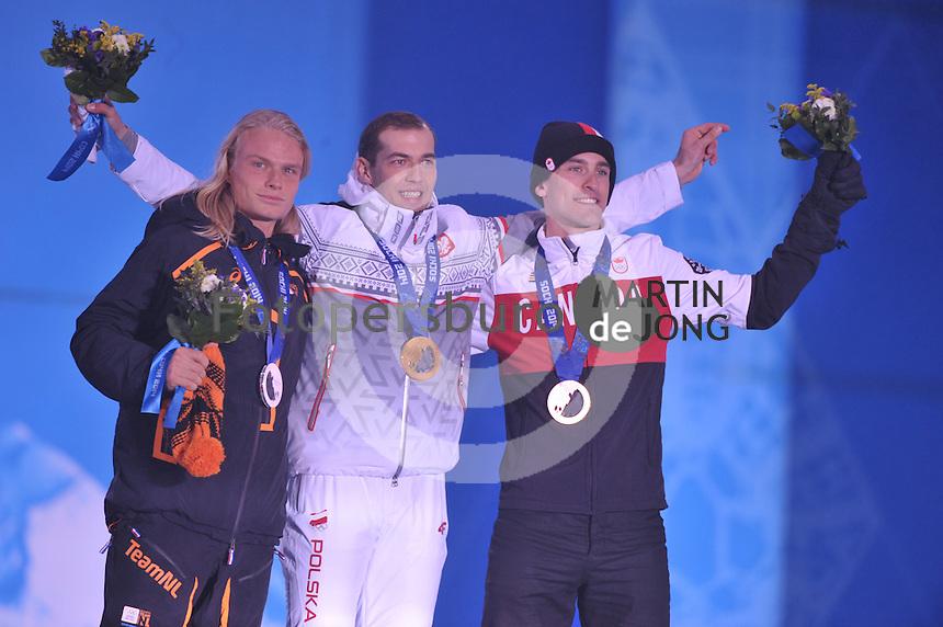 OLYMPICS: SOCHI: Medal Plaza, 16-02-2014, Men's 1500m, Koen Verweij (NED), Zbigniew Brodka (POL), Denny Morrison (CAN), ©photo Martin de Jong