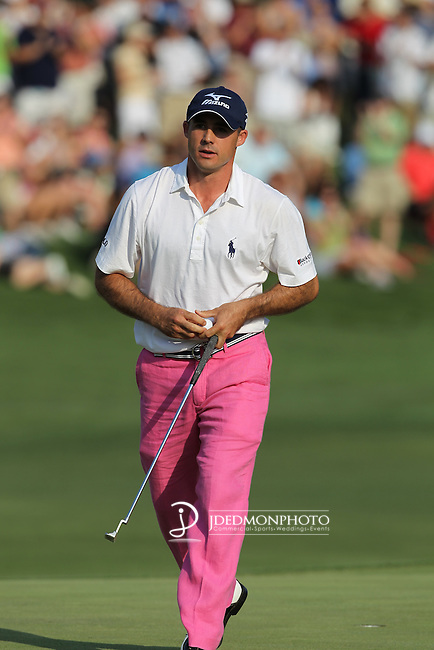May 8,2011 - Jonathan Byrd walks off 18, the celebration short lived as he heads towards a playoff with Lucas Glover.  Lucas Glover wins the tournament in sudden death over Jonathan Byrd at Quail Hollow Country Club,Charlotte,NC.