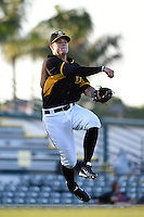 Bradenton Marauders third baseman Walker Gourley (5) throws to first during a game against the Palm Beach Cardinals on April 9, 2014 at McKechnie Field in Bradenton, Florida.  Palm Beach defeated Bradenton 3-1.  (Mike Janes/Four Seam Images)