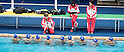 (L-R)  Masayo Imura,  Miya Miyakawa,  Risako Takita (JPN),<br /> AUGUST 3, 2016 - Synchronized Swimming :<br /> Japan's synchronized swimming team group take part in a training session at the Maria Lenk Aquatic Center ahead of the 2016 Olympic Summer Games in Rio de Janeiro, Brazil. (Photo by Enrico Calderoni/AFLO SPORT)