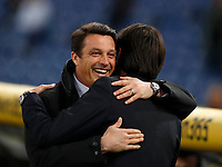 Calcio, Serie A: Lazio - Udinese, Roma, stadio Olimpico, 24 gennaio 2018.<br /> Udinese's coach Massimo Oddo greets Lazio's coach Simone Inzaghi before the start of the Italian Serie A football match between Lazio and Udinese at Rome's Olympic stadium, January 24, 2018.<br /> UPDATE IMAGES PRESS/Isabella Bonotto