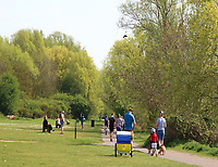 General views of People and other 'local residents' out and about during the Coronavirus Outbreak lock down, Priory Country park, Bedford on April 11th 2020<br /> <br /> Photo by Keith Mayhew