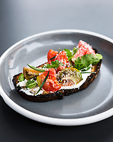 Call Restaurant in Denver, Colorado, Tuesday, August 21, 2018. Dishes photographed include Heirloom Tomato Tartine and Cured Salmon Tartine.<br /> <br /> Photo by Matt Nager