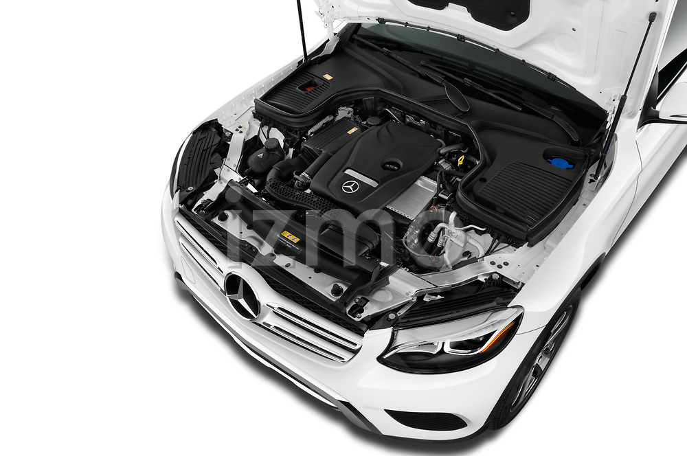 Car stock 2018 Mercedes Benz GLC-Class 300 5 Door SUV engine high angle detail view