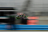 Kawasaki factory rider Jonathan Rea speeds down the start/finish straight during Sunday morning warm-up before race 2 of the Superbike World Championship at WeatherTech Raceway #LagunaSeca in Monterey, California on June 23, 2018.