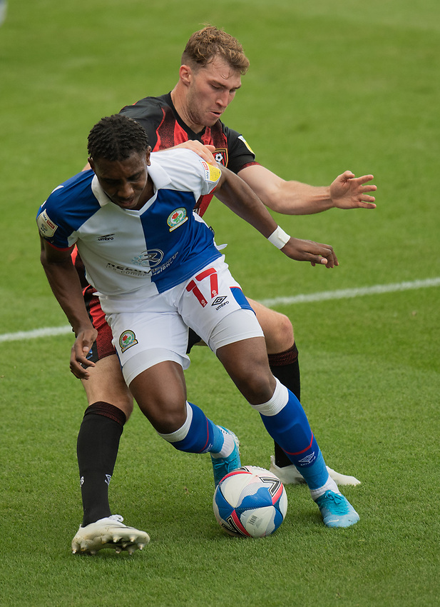 Blackburn Rovers' Amari'i Bell (left) is tackled by Bournemouth's Jack Stacey (right) <br /> <br /> Photographer David Horton/CameraSport <br /> <br /> The EFL Sky Bet Championship - Bournemouth v Blackburn Rovers - Saturday September 12th 2020 - Vitality Stadium - Bournemouth<br /> <br /> World Copyright © 2020 CameraSport. All rights reserved. 43 Linden Ave. Countesthorpe. Leicester. England. LE8 5PG - Tel: +44 (0) 116 277 4147 - admin@camerasport.com - www.camerasport.com