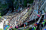 The peloton climb the Passo di San Boldo during Stage 19 of the 2019 Giro d'Italia, running 151km from Treviso to San Martino di Castrozza, Italy. 31st May 2019<br /> Picture: Fabio Ferrari/LaPresse | Cyclefile<br /> <br /> All photos usage must carry mandatory copyright credit (© Cyclefile | Fabio Ferrari/LaPresse)