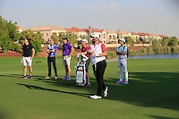 Shane Lowry (IRL) and his team on the 18th fairway during the preview for the DP World Tour Championship at the Earth course,  Jumeirah Golf Estates in Dubai, UAE,  18/11/2015.<br /> Picture: Golffile | Thos Caffrey<br /> <br /> All photo usage must carry mandatory copyright credit (© Golffile | Thos Caffrey)